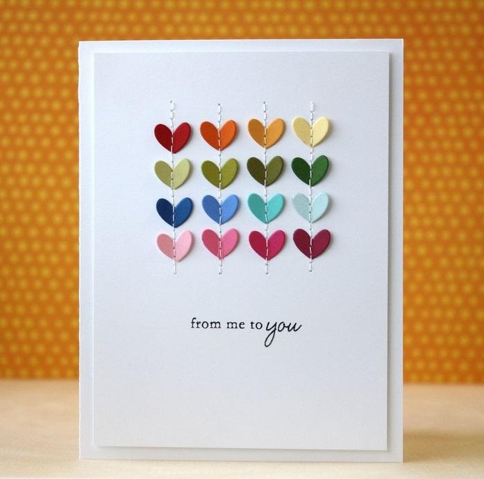 dankeskarte basteln karte basteln vorlage geburtstagskarte basteln aus papier weiße karte mit kleinen herzen bunt