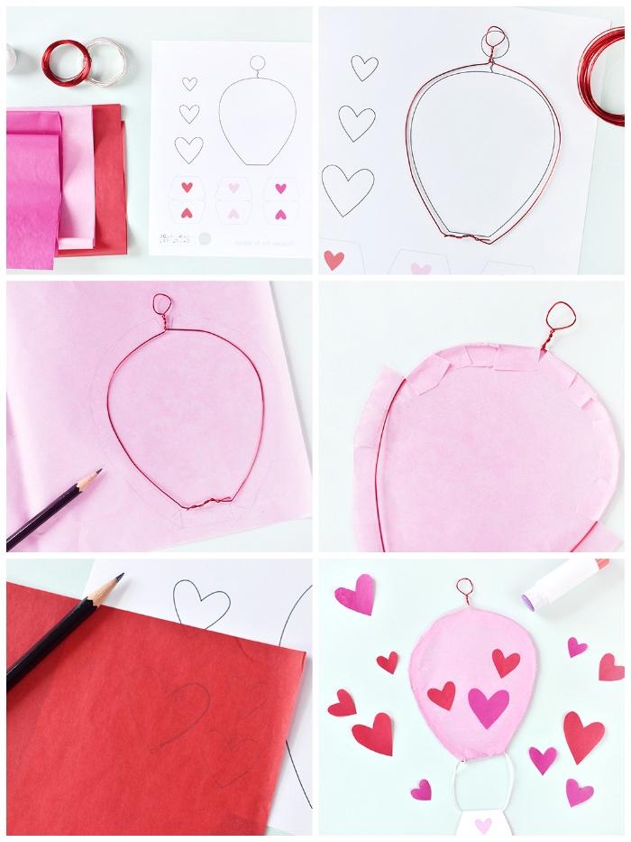 deko 1 geburtstag, basteln mit papier, heißluftballon aus seidenpapier, schritt für schritt anleitung