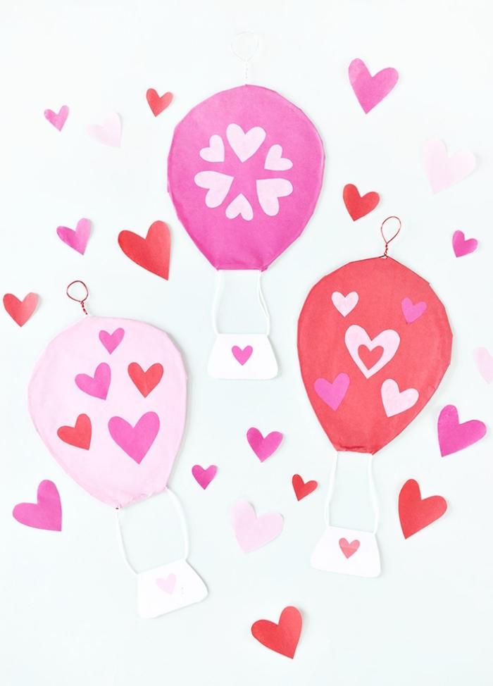 deko 1 geburtstag, parydeko selber machen, heißluftballons basteln, papierdeko ideen, herzen