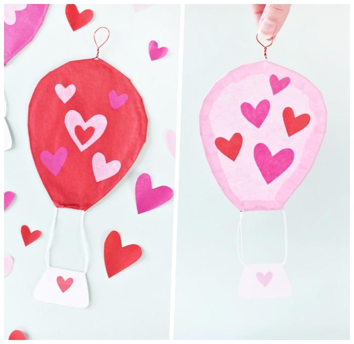 deko 1 geburtstag, heißluftballons selber machen, basteln mit papier, kleine herzen, parytdeko