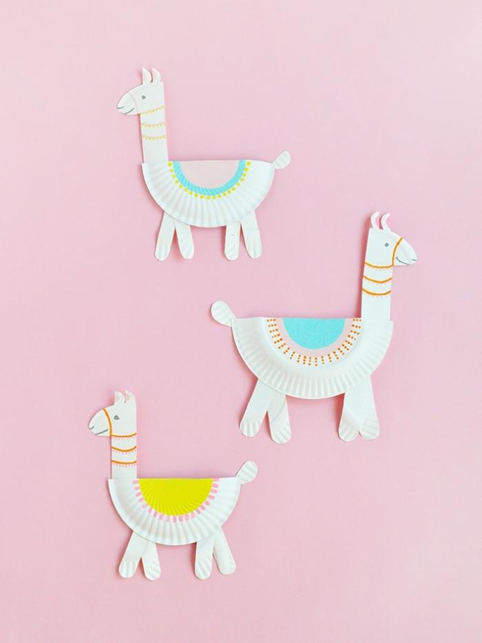 deko 1 geburtstag, basteln mit kindern, lamas aus papiertellern, basteln mit papier