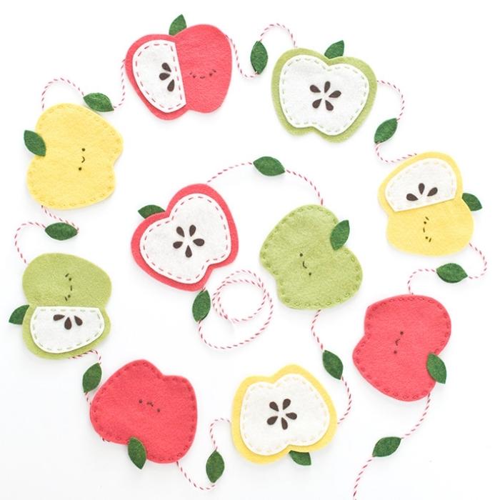 deko kindergeburtstag, geburtstagsdeko selber machen, äpfel aus filzstoff, diy bastelideen