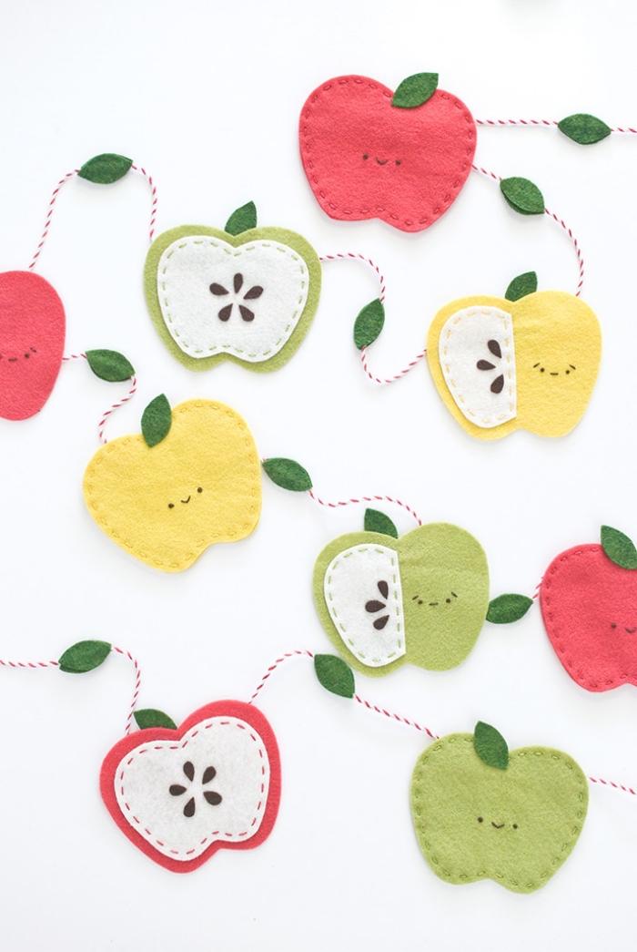 deko kindergeburtstag, geburtstagsdeko kinder, diy girlande, äpfeln aus filzstoff