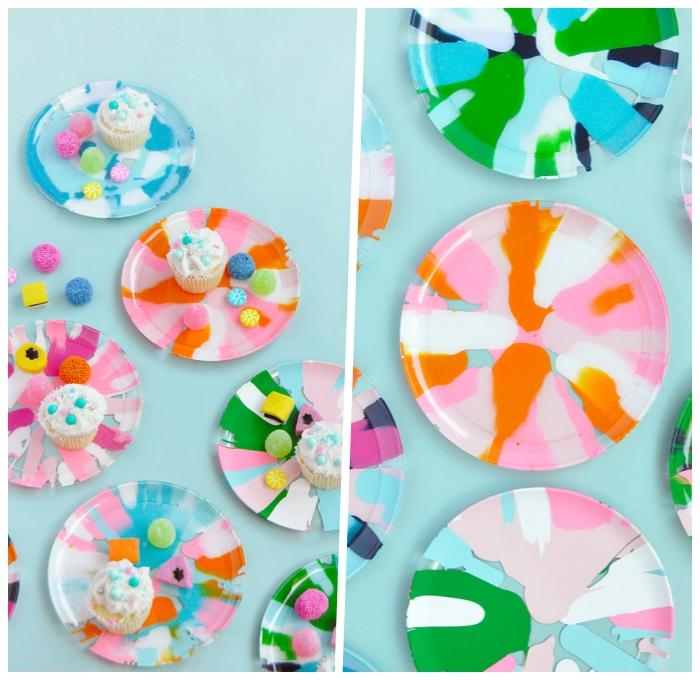 deko kindergeburtstag, glasteller dekoriert mit bunten farben, partyideen zum selbermachen