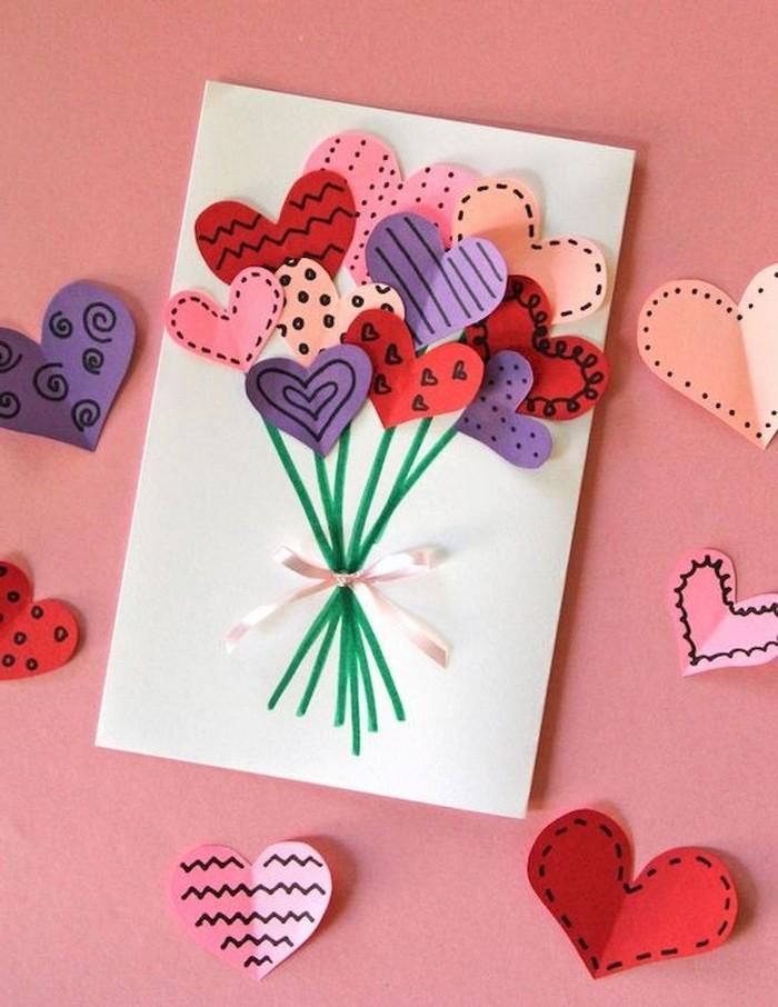 diy geburtstagskarte geburtstagskarte selber machen vorlagen kostenlos klappkarte basteln pop up karte mit blumenstrauß aus herzen karte selber machen