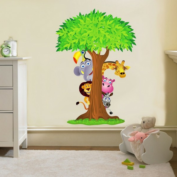 28 coole fotos vom dschungel kinderzimmer nursery hanging blossom branches wall sticker vinyls
