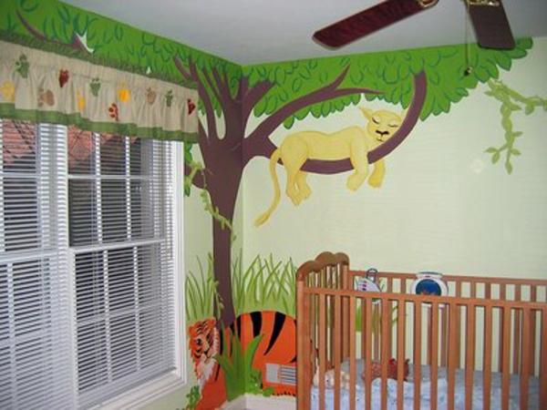 dschungel-kinderzimmer-gemütliches-ambiente und weiße jalousien