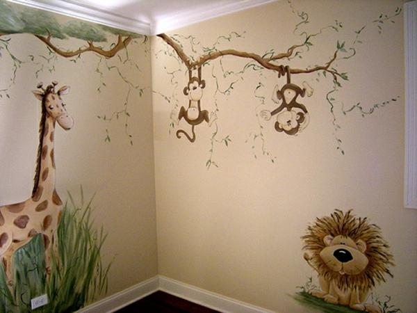Kinderzimmer Junge Wandgestaltung Dschungel Selbst Gestalten Quartru
