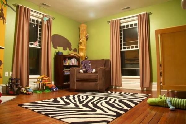 dschungel-kinderzimmer-süßes-aussehen- teppich in weiß und schwarz