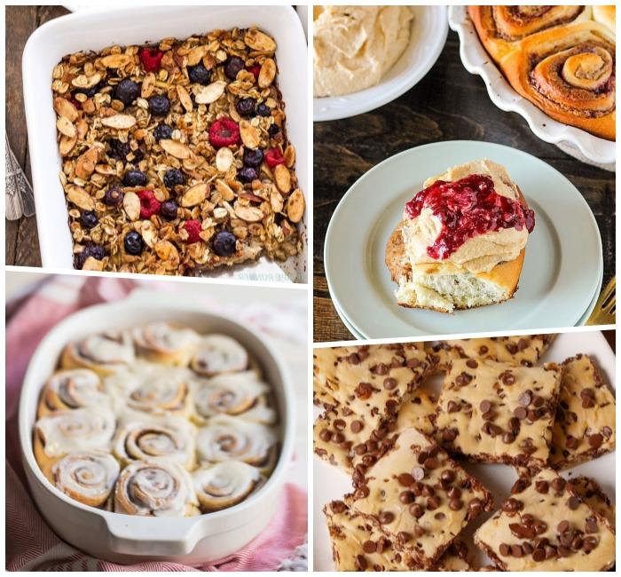 frühstücksbuffet ideen, brunch für gäste, zimtrollen, kuchen mit schokoladenchipps, haferflochen mit obst