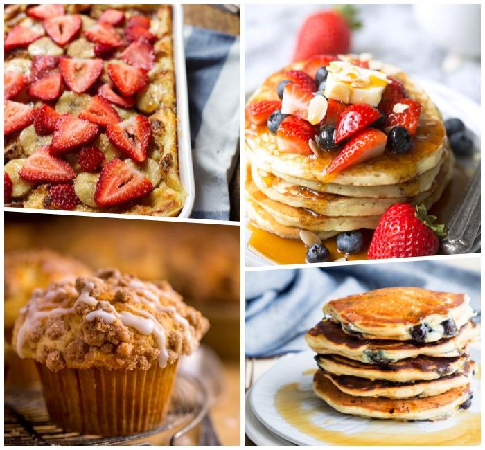 frühstücksbuffet ideen, muffins mit zimt, schokolade und weißer soße, pfannkuchen mit blaubeeren, nachtisch ideen