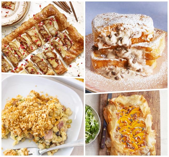 süßer frühstück, frühstücksbuffet ideen, gebäck aus blätterteig und früchten, french toasts mit sahne, schokoladenchips und puderzucker