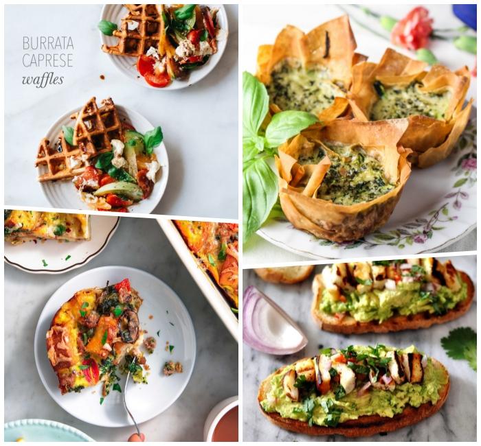 frühstücksbuffet ideen, bruschettas mit avocado und eiern, muffins aus eiern uns spinat, waffeln