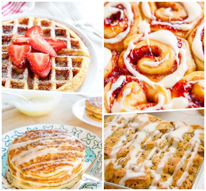 nachtisch ideen, frühstücksbuffet selbst gemacht, süßer frühstück, waffeln mit erdbeeren, rollen mit marmelade und weißer soße, pfannkuchen