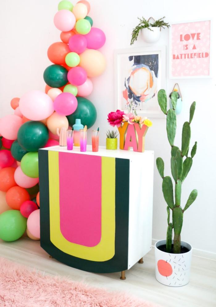 geburtstags deko basteln, bar selber machen, cocktailbar anleitung, deko aus ballons