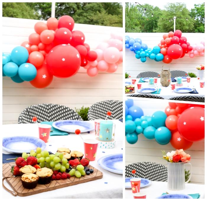 geburtstags deko ideen, gartenparty dekoideen, dekoration aus luftballons, zaundeko