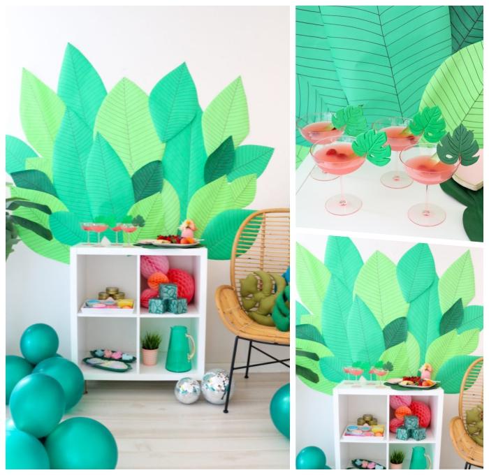 geburtstags deko, sommerparty dekoideen, wanddeko aus papier, große grüne blätter