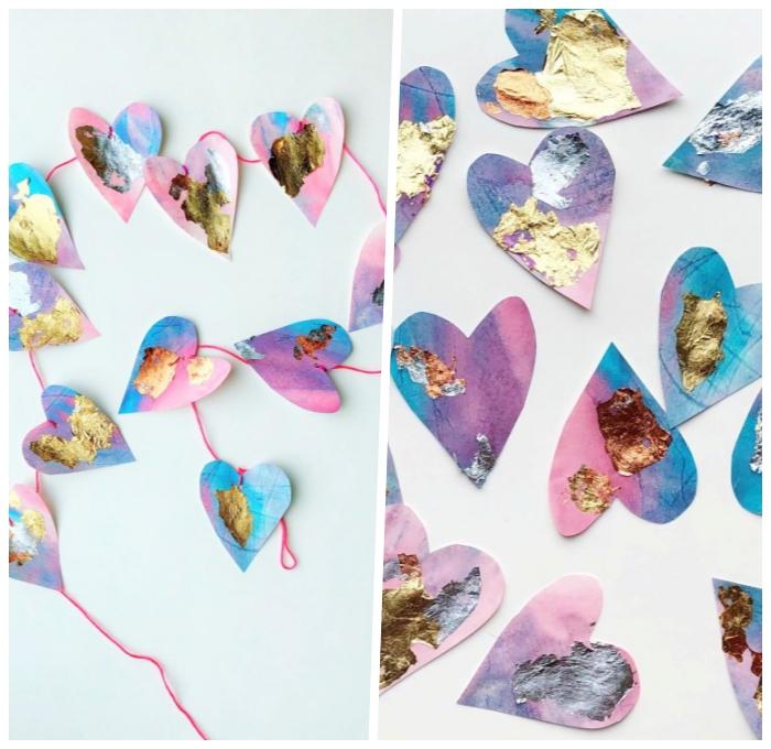 geburtstags dekoraiton ideen, herzen aus papier, party bastelnideen, partydeko anleitung