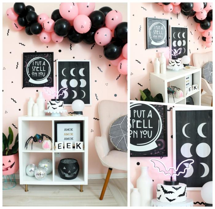 geburtstags dekoration, partydeko zum halloween, deko in rosa und schwarz, halloweendeko