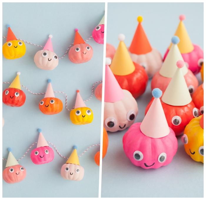 geburtstagsdeko kinder, farbenfrohe deko aus mini kürbissen dekoriert mit acrylfarben