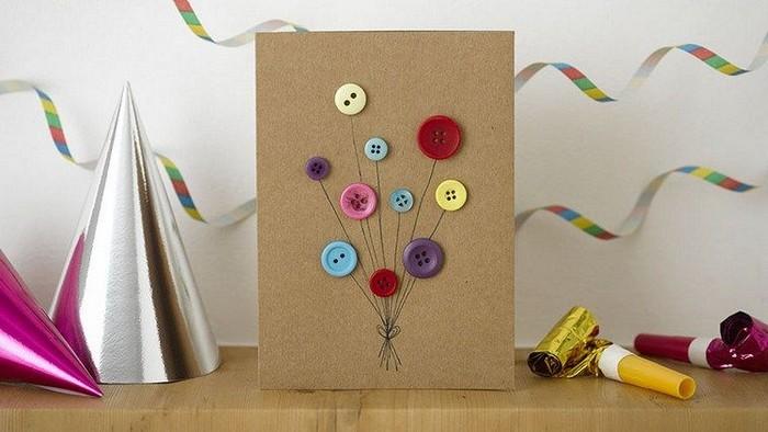 geschenkkarte basletn karte selber machen dankeskarte basteln babykarte basteln karton blumen aus knöpfe blumen karte basteln