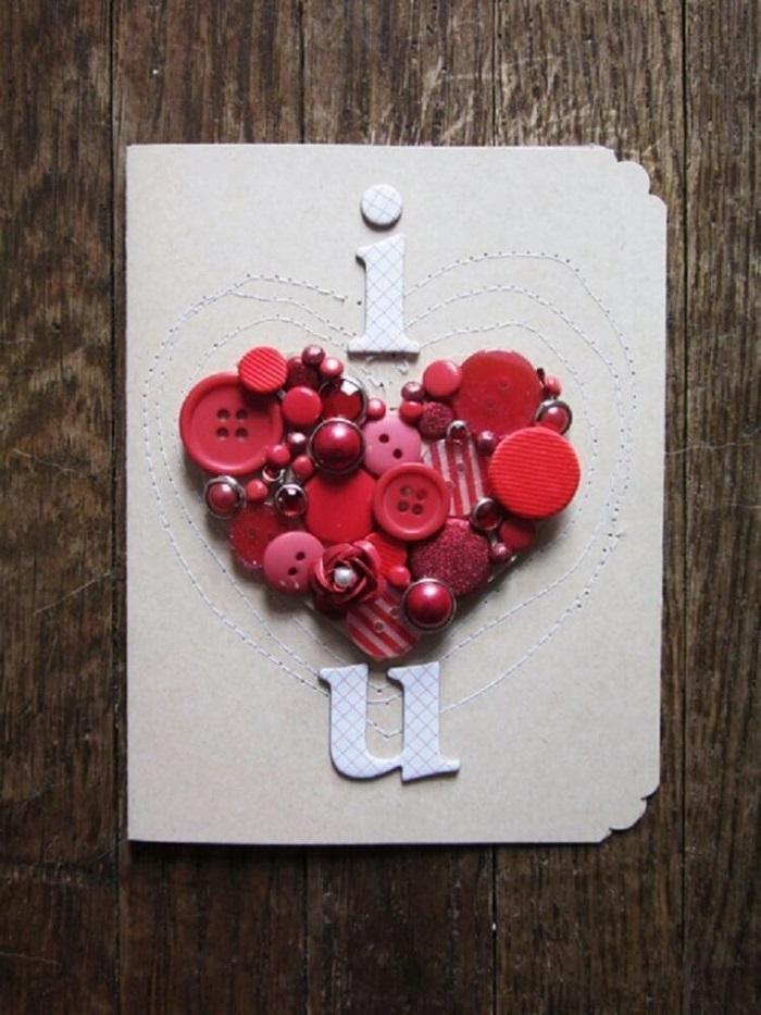 geschenkkarte bastelb ausgefallene geburtstagskarte selber basteln valentinstag karte selber machen ich liebe dich rote knöpfen