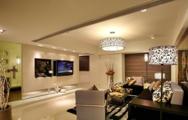 interessante-deckenleuchten-für-wohnzimmer-beige-interieur