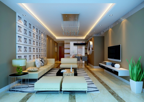 interessante-deckenleuchten-für-wohnzimmer-blaue-wandgestaltung
