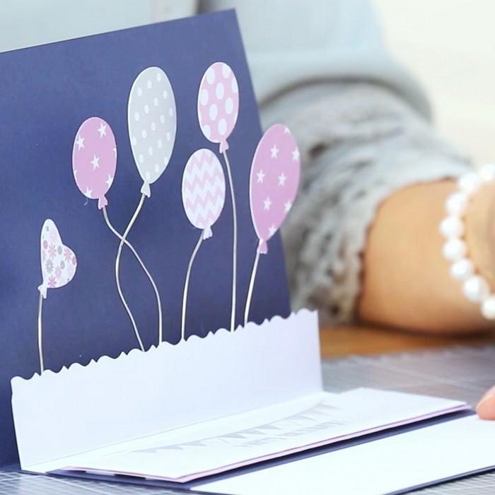 karte selber machen pop up karte basteln ausgefallene geburtstagskarten selber basteln ballons aus papier 3d karte basteln lila