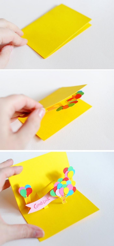 karte.basteln vorlage ausgefallene geburtstagskarten selber basteln klappkarte basteln gelb mit ballons anleitung geburtstagskarte basteln aus papier