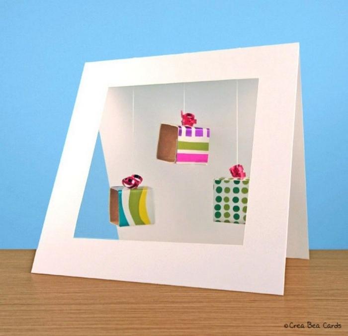 klappkarte basteln karte selber machen geburtstagskarte basteln aus papier ausgefallene geburtstagskarte selber basteln drei würfel geschenke