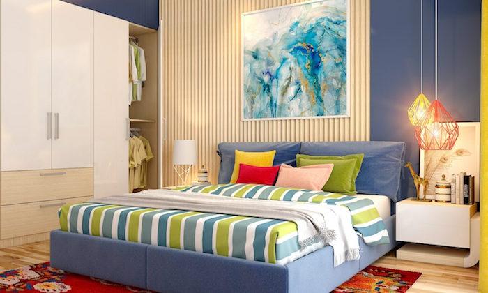 Schlafzimmer gemütlich einrichten, farbenfrohe Muster, abstraktes Gemälde