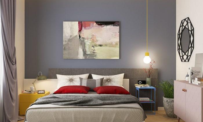 Schlafzimmer Ideen in Grau, abstraktes Gemälde, praktische Einrichtung