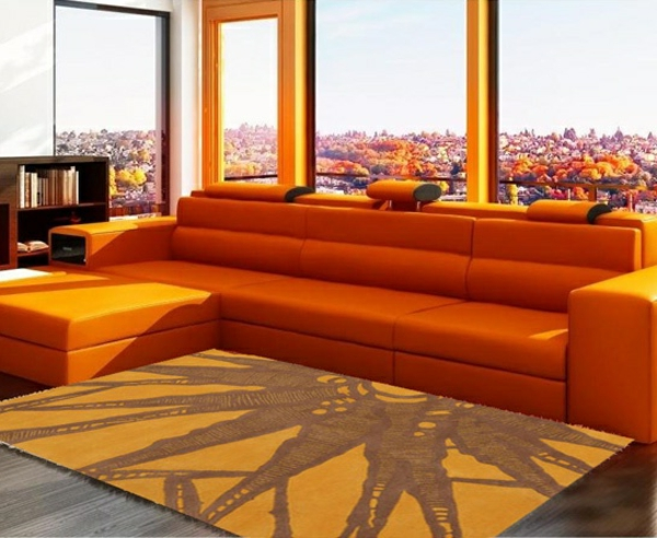 design wohnzimmer wände:orange-wohnzimmer-design-gläserne-wände