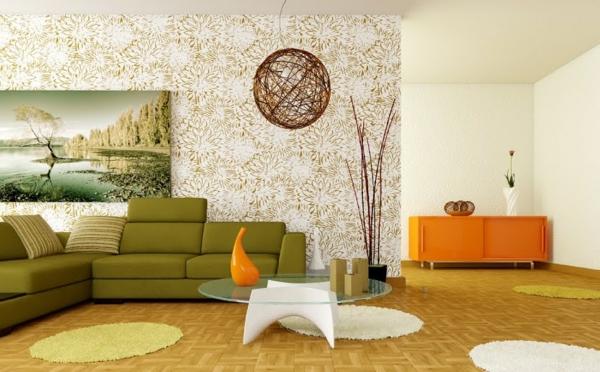 orange-wohnzimmer-design-grünes-sofa