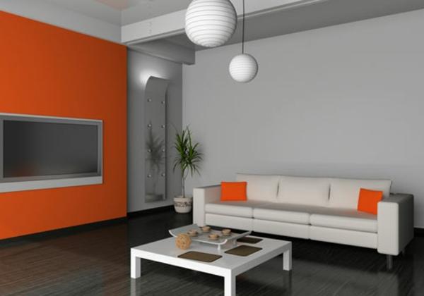 design wohnzimmer wände:orange-wohnzimmer-design-graue-schöne-wände