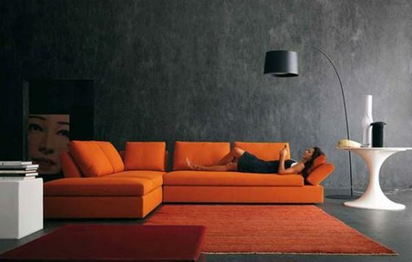 design wohnzimmer wände:orange-wohnzimmer-design-graue-wände