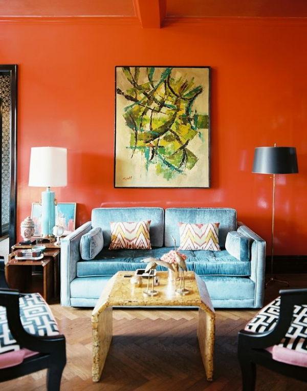 orange-wohnzimmer-design-großes-bild-an-der-wand