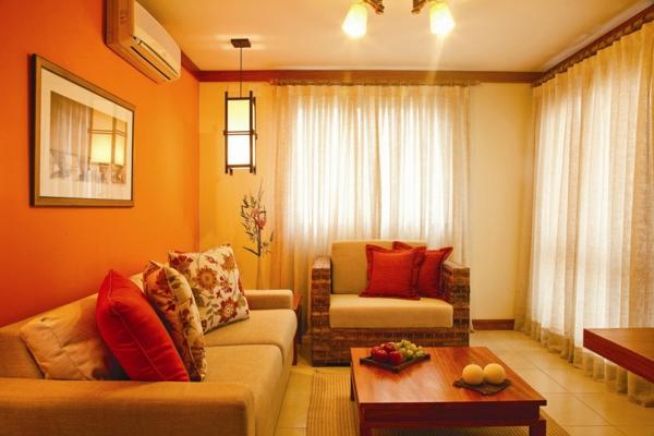 orange design vom wohnzimmer