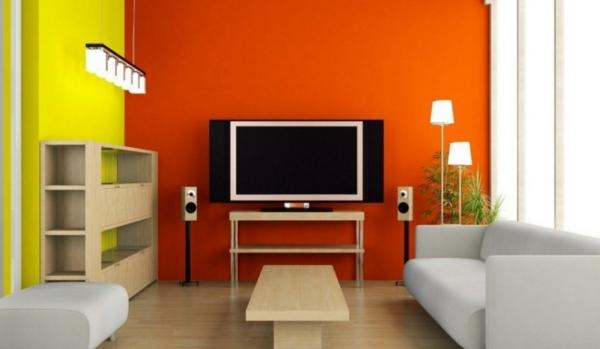 orange-wohnzimmer-design-kombiniert-mit-gelber-wand