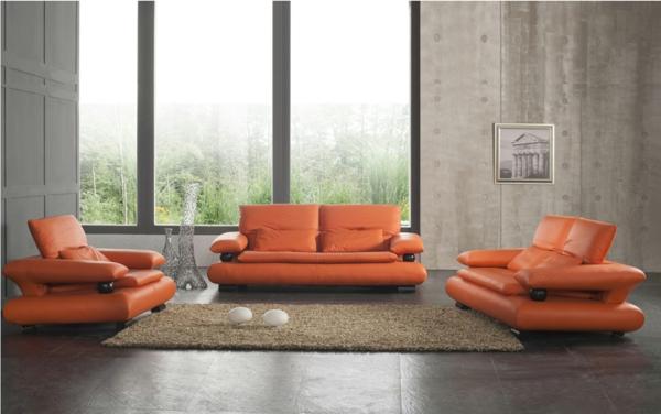 orange-wohnzimmer-design-moderne-möbelstücke