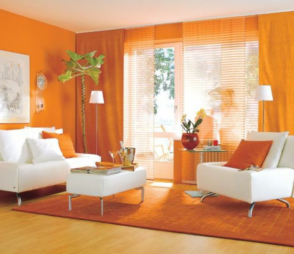 orange wohnzimmer design 40 bilder. Black Bedroom Furniture Sets. Home Design Ideas