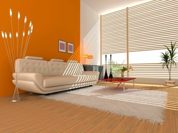 orange-wohnzimmer-design-orange-wand-weiße-jalousien