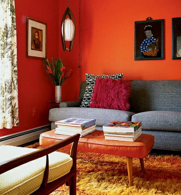 wohnzimmer design bilder:Orange Wohnzimmer Design: 40 Bilder!