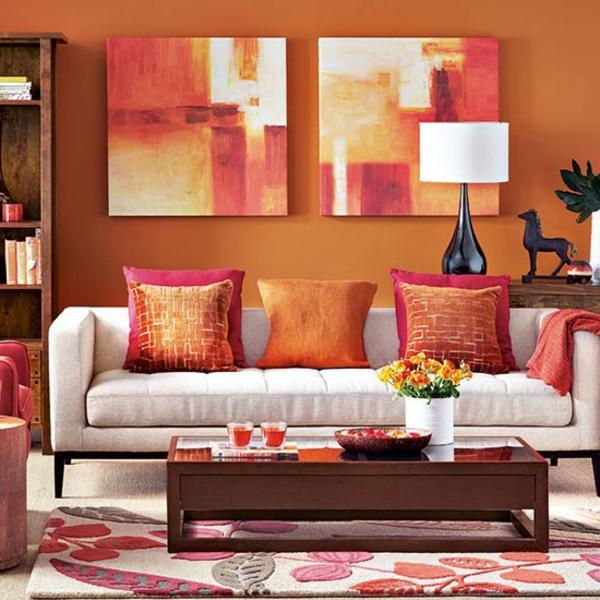 orange-wohnzimmer-design-super-coole-bilder-an-der-wand
