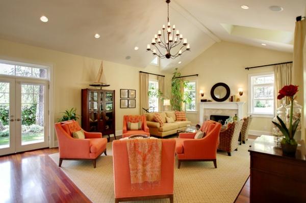 Wohnzimmer Design Bilder  Orange Wohnzimmer Design 40 Bilder!