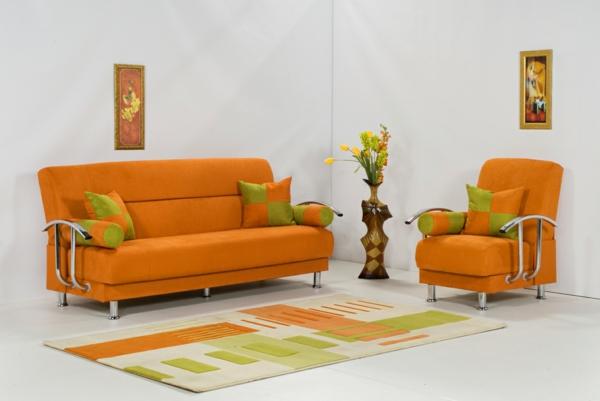 orange-wohnzimmer-design-weiße-wände