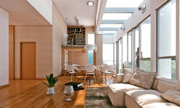 originelle-esszimmer-deko-großes-zimmer-mit-gläsernen-wänden