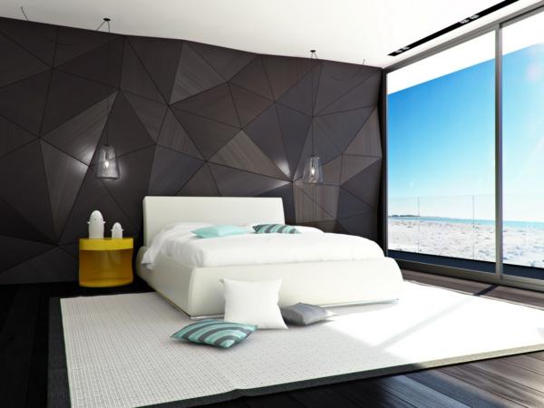 originelle-schlafzimmer-ideen-akzentwand-in-schwarz