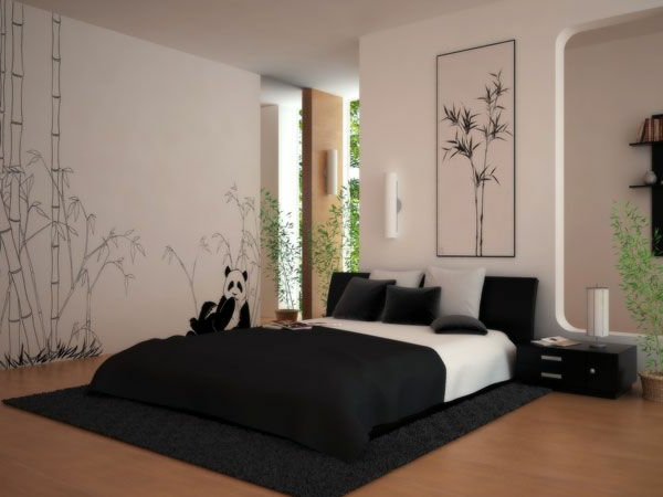 originelle-schlafzimmer-ideen-bett-in-weiß-und-schwarz